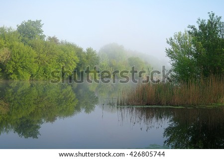 Morning landscape with fog on the river.