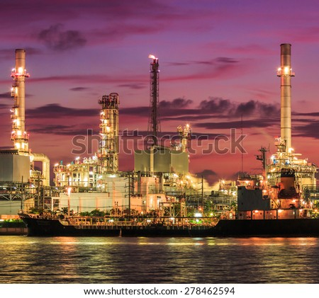 Morning Light at Oil refinery at Bangkok Thailand - stock photo