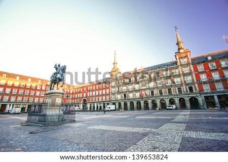 Morning Light at Plaza Mayor in Madrid , Spain - stock photo