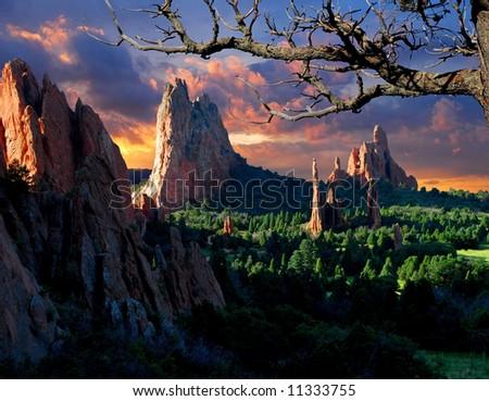 Morning Light at the Garden of the Gods Park in Colorado Springs, Colorado. - stock photo