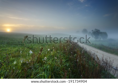Morning light in Pomorskie province in north Poland. Kashubia (Kaszuby) district/Morning light - stock photo
