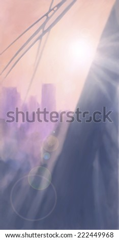 Morning Light LA, digital painting, sunrise over high rise buildings and palm tree.   - stock photo