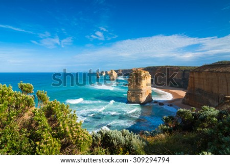 Morning light on the landmark Twelve Apostles along the Great Ocean Road in Victoria, Australia, with cliff-top coastal vegetation in the foreground - stock photo