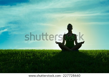 Morning meditation - stock photo