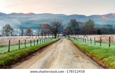 Morning mist and fog, smoky mountains national park - stock photo