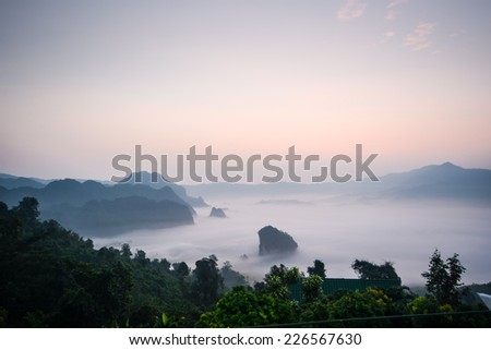 Morning mist and mountain At Phu Lang Ka, Phayao, Thailand - stock photo