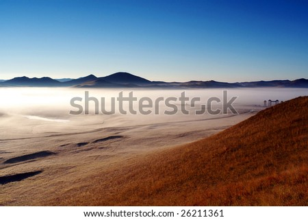 morning mist in Bashang grassland