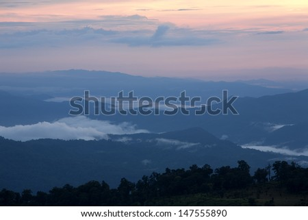 Morning mist in valley, North of Thailand