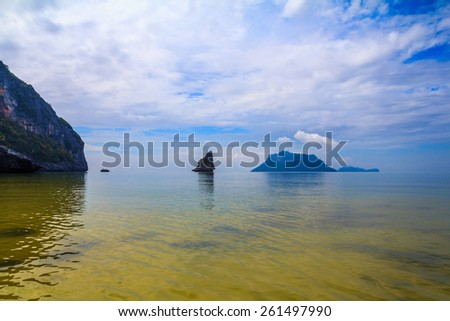 Morning mist on the Andaman Sea, Thailand. In the distance the small and large islands. Great vacation at sea - stock photo