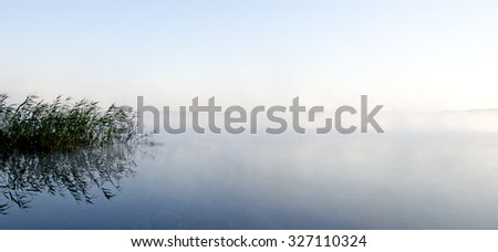 Morning mist over the lake with reeds - stock photo
