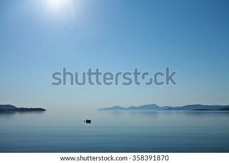 Morning mist  Peloponese in Greece - stock photo