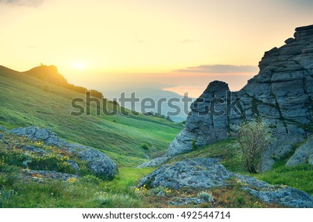 morning mountain landscape. Composition of nature.