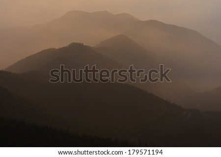 Morning Mountains from Mt.NORIKURA, Nagano Prefecture/Japan, 2013/7/27.  - stock photo