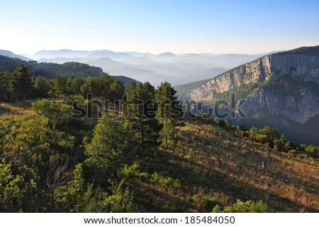 Morning Mountains Landscape in  Alps de Haute Provence, France  - stock photo