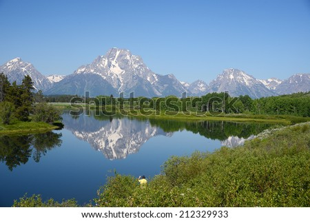 morning of grand tetons peaks with their reflections in wyoming