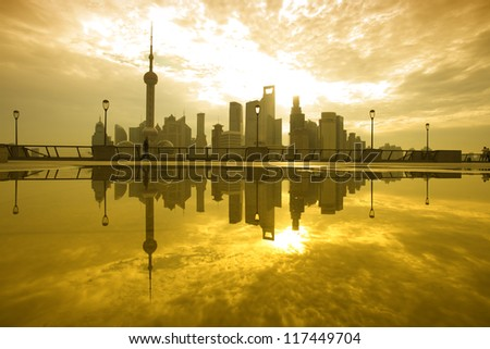 Morning of shanghai lujiazui view - stock photo