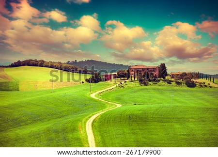 Morning on countryside in Tuscany, Val d'Orcia, Italy, Europe. Retro style. - stock photo