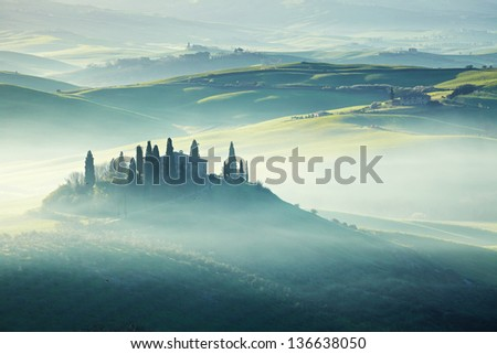morning on countryside, San Quirico d���´Orcia, Tuscany, Italy - stock photo