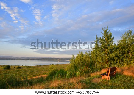 Morning on Lake Berzdorf in summer.