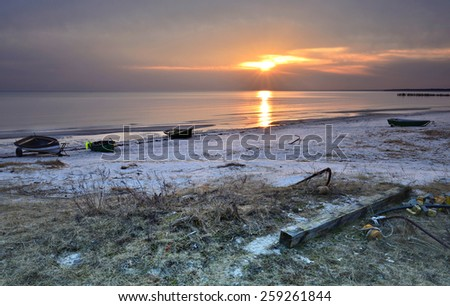 Morning on sandy beach of the Baltic Sea, Latvia, Europe - stock photo