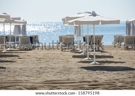 Morning on Sunny beach resort shore, Bulgaria - stock photo