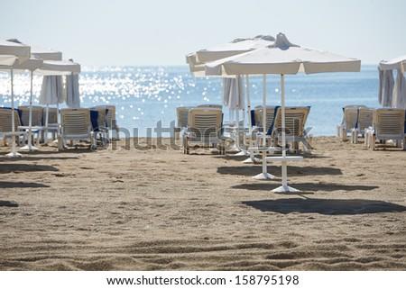 Morning on Sunny beach resort shore, Bulgaria - stock photo