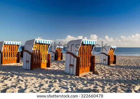 Morning on the beach in Binz, Ruegen Island, Germany - stock photo