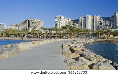 Morning on the central beach of Eilat - famous resort and recreational city in Israel