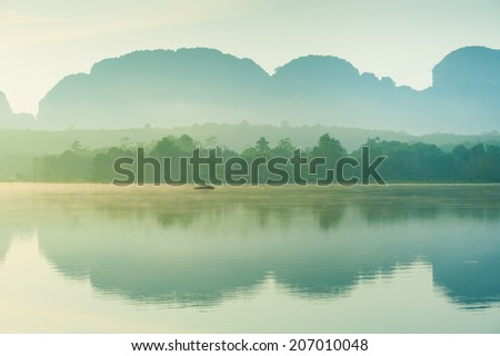 Morning on the edge of the lake. Krabi Thailand - stock photo