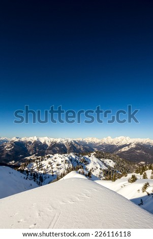 morning on the peak of the mountain. Incredible panorama of Dolomiti - stock photo