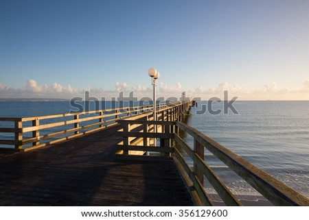 Morning on the Pier in Binz, Ruegen Island, Germany - stock photo