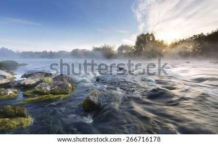 Morning on the river hill - stock photo