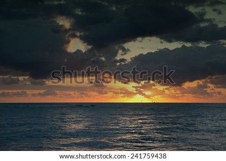 morning over the Coral Sea, near Cairns, Queensland, Australia - stock photo