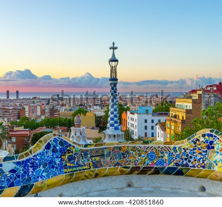 Morning panorama of Barcelona - stock photo