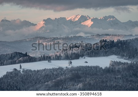 Morning panorama of snowyTatra Mountains in the morning over Spisz highland, Poland