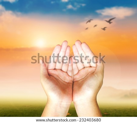 Morning pray. Human open empty hands with palms up over blurred nature background. - stock photo