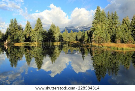 Morning reflection remote in Grand Teton National Park, Wyoming, USA. - stock photo