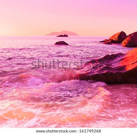 Morning Rocks Ocean  - stock photo