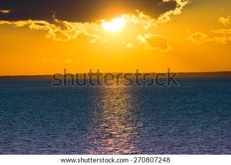 Morning Scene Sunrise over Water  - stock photo