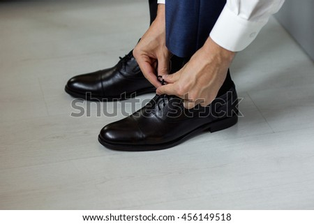 Morning, shoes, footwear, shoelace - stock photo