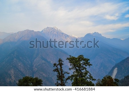 Morning sky in the Himalayan mountains, Nepal - stock photo
