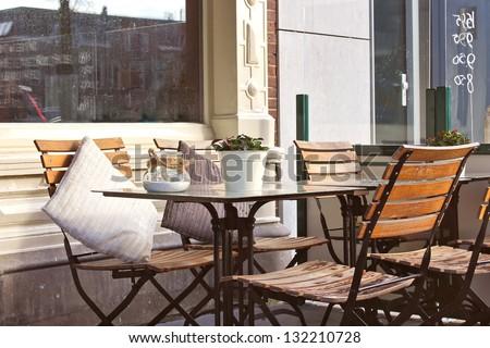 Morning street cafe in Gorinchem. Netherlands - stock photo