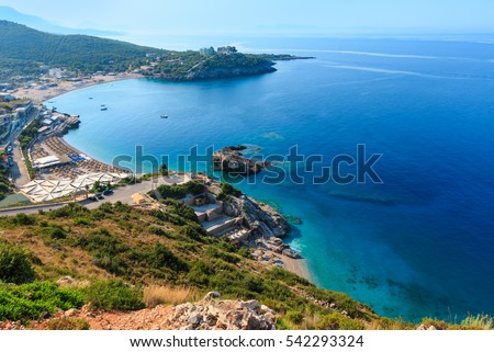Morning summer Ionian sea coast top view with beaches, Albania