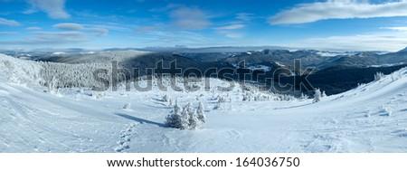 Morning sunny winter mountain panorama (Carpathian, Ukraine). - stock photo