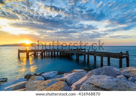 Morning sunrise at Laem Ya Pier , Kao Laem Ya-Moo Koh Samed National Park ,east of Thailand