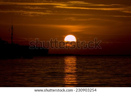 Morning sunrise at Marsaxlokk Harbour, Malta. - stock photo