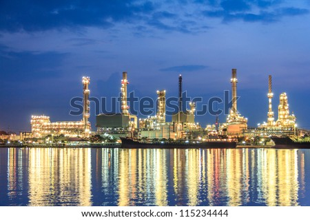 Morning Sunrise At Petroleum Refinery