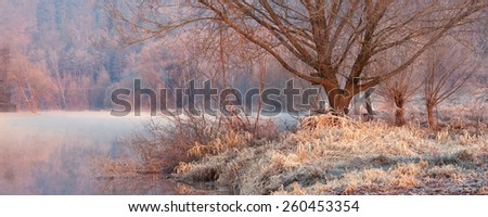 Morning sunrise by the river landscape - stock photo