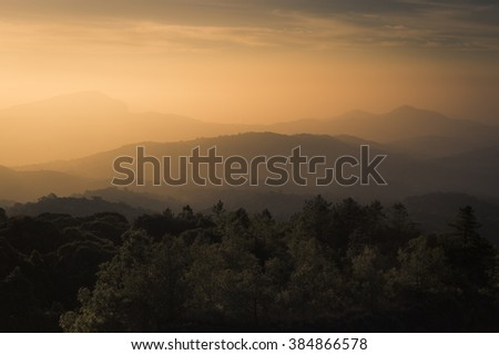 Morning Sunrise on The Hill Asia in Thailand