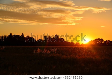 Morning-Sunrise over a field
